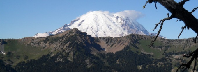 Mount Rainier from the Pacific Crest Trail was taken by Washington State Geological Survey geologist, J. Eric Schuster, while hiking the trail in September, 2011.