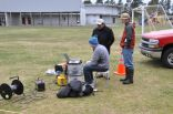 Hazards geologist, Ray Cakir, supervises seismic survey measurements made at the Ocosta Elementary School near Westport, Wa by undergraduate student assistants Frankie Pavia and Alec Cole.