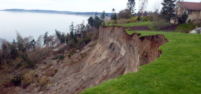 A view of the Ledgewood-Bonair Landslide event that occurred on Whidbey Island, WA on March 27, 2013. Courtesy of Isabelle Sarikhan & Stephen Slaughter, DGER (DNR).