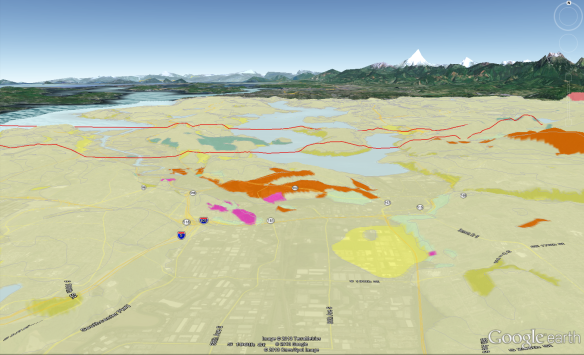 Screen shot of King County .kmz file showing 100K-scale surface geology draped on the Google Earth viewer's pseudo-3D terrain.