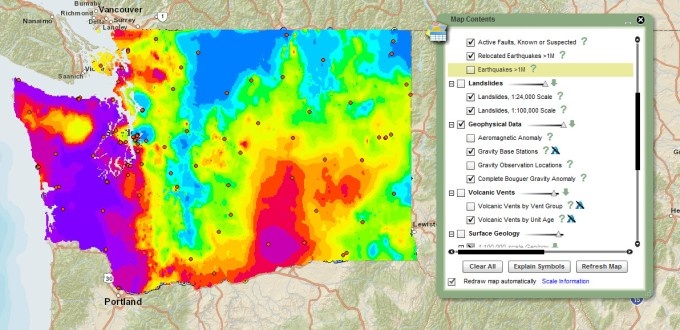 The complete Bouguer gravity anomaly and gravity base stations layer is part of the geophysical data now found in the Geothermal Resources and Washington Interactive Geologic Map themes.