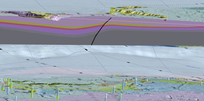 Image capture of the Seabeck-Poulsbo 3D PDF showing a cross section along with mapped surface and subsurface (boreholes) geology.