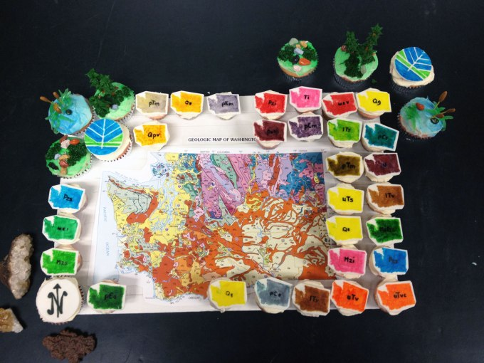 Washington State geologic map in cupcake form, courtesy of Carrie Gillium (DGER).