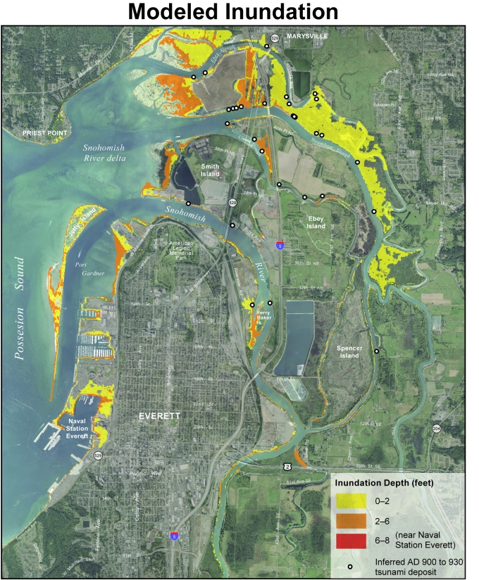 Modeled tsunami inundation for the Everett area using a 7.3Mw Seattle fault earthquake scenario